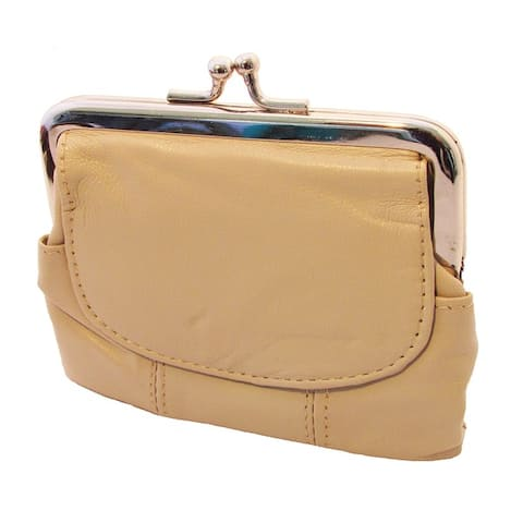 Continental Leather Metal Snap Kiss Lock Frame Coin Purse
