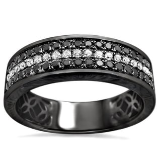 Noori 14k Black Gold Men's 5/8ct TDW Round Diamond Wedding Band