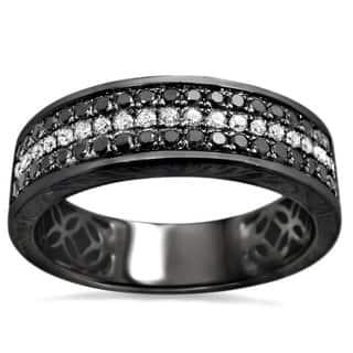 Noori 14k Black Gold Men's 5/8ct TDW Round Diamond Wedding Band|https://ak1.ostkcdn.com/images/products/9792981/P16961502.jpg?impolicy=medium
