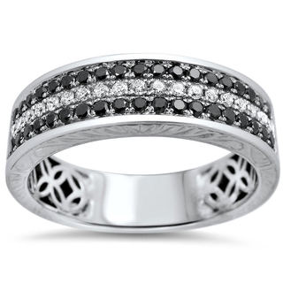 Noori 14k Gold 5/8ct TDW Black White Round Diamond Men's Wedding Band Ring