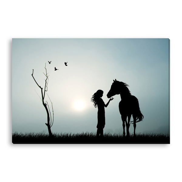 Gallery Direct adrenalinapura's 'Girl and Her Horse' Gallery Wrapped Canvas