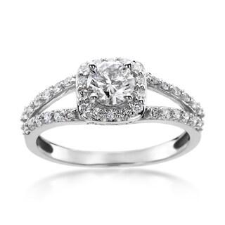 SummerRose 14k White Gold 7/8ct TDW Diamond Halo Split Shank Ring (H-I, I2-I1)