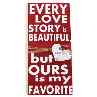 Red 'Every Love Story' Wood Sign Wall Decorative