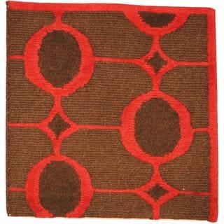 Herat Oriental Indo Tibetan Brown/ Burgundy Wool Rug (2' x 2')