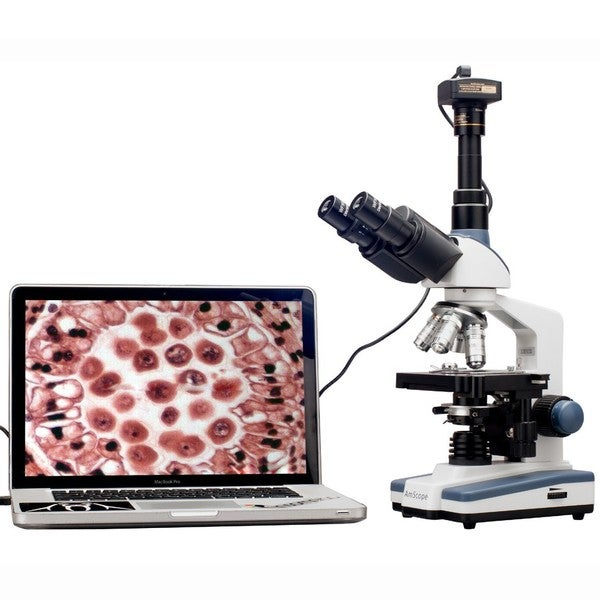AmScope 2000x LED Trinocular Compound Microscope with 3D Mechanical Stage and 10MP Camera