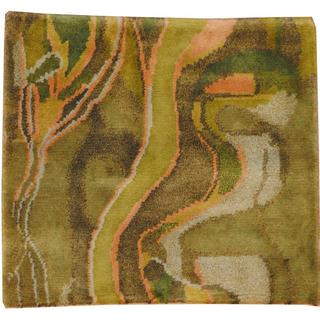 Herat Oriental Indo Hand-knotted Tibetan Green/ Blue Wool Area Rug (2' x 2')