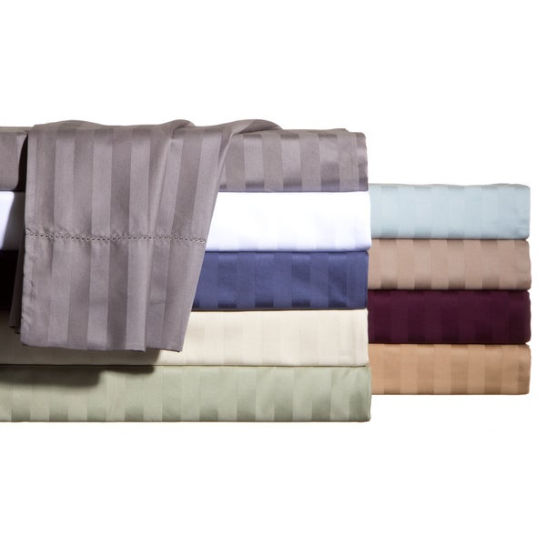 Andiamo Cotton 500 Thread Count Woven Stripe Sheet Set