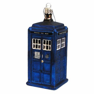 Doctor Who Blue Box Tardis Christmas Glass Ornament