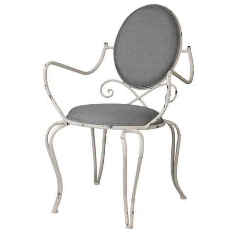 Louis White Distressed Metal Chair