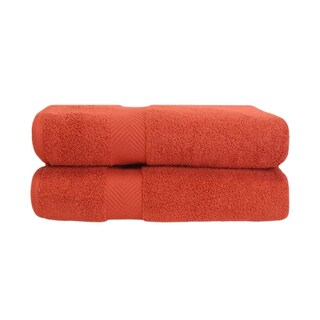 Superior Super Soft & Absorbent Zero Twist Cotton Bath Towel (Set of 2) (Option: Brick)