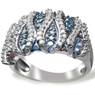 Sterling Silver 3/4ct TDW Blue and White Diamond Wave Ring