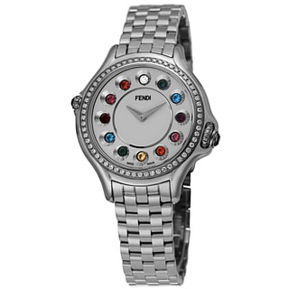 Fendi Women's F107024000B0T05 'CrazyCarats' Silver Dial Stainless Steel Diamond Quartz Watch