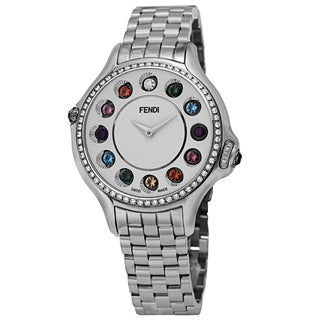 Fendi Women's F107034000B0T05 'CrazyCarats' Silver Dial Stainless Steel Diamond Quartz Watch