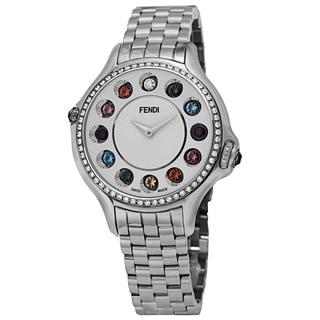 Fendi Women's F107034000B0T05 'CrazyCarats' Silver Dial Stainless Steel Diamond Quartz Watch