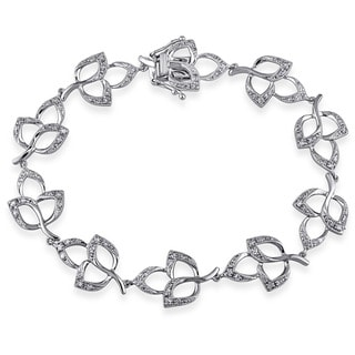 Miadora Signature Collection 14k White Gold 1/2ct TDW Diamond Leaf Link Bracelet (H-I, I1-I2)