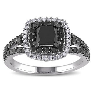 Miadora Sterling Silver 1 1/2ct TDW Princess and Round-cut Black and White Diamond Halo Split Shank Engagement Ring (G-H, I2-I3)