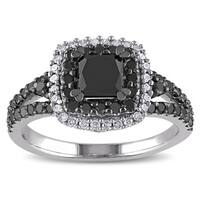Miadora Sterling Silver 1 1/2ct TDW Princess and Round-cut Black and White Diamond Halo Split Shank