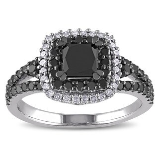 Miadora Sterling Silver 1 1/2ct TDW Princess and Round-cut Black and White Diamond Halo Split Shank (3 options available)