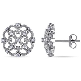 Miadora 10k White Gold 1/4ct TDW Diamond Filigree Earrings