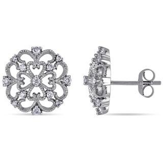 Miadora 10k White Gold 1/4ct TDW Diamond Filigree Earrings