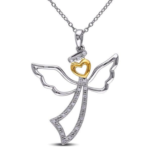 Miadora Two-tone Silver 1/10ct TDW Diamond Angel Heart Necklace