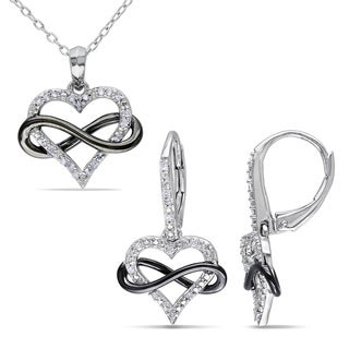 Link to Miadora Sterling Silver 1/5ct TDW Diamond Heart Infinity Necklace and Earrings Set - Silver/Black Similar Items in Necklaces