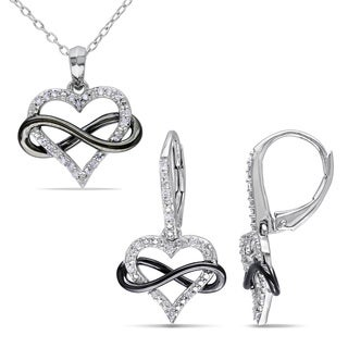 Miadora Sterling Silver 1/5ct TDW Diamond Heart Infinity Necklace and Earrings Set (G-H, I2-I3