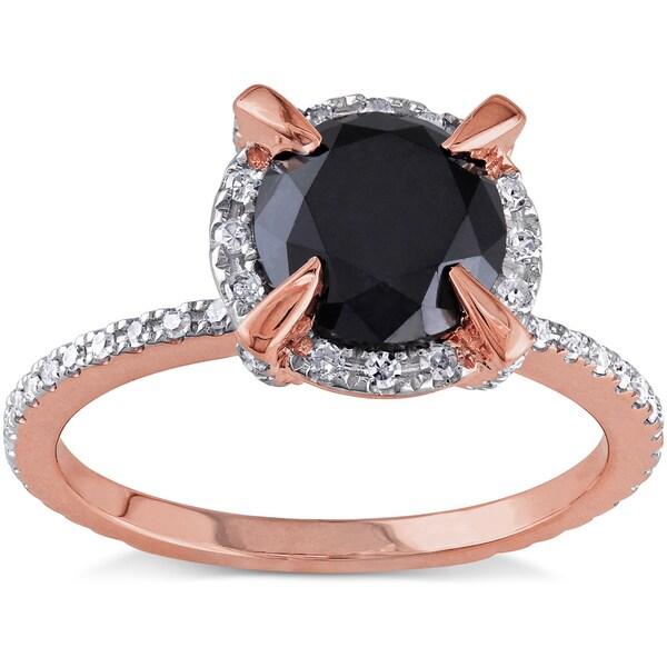Miadora 10k Rose Gold 2ct TDW Black and White Diamond Halo Engagement Ring