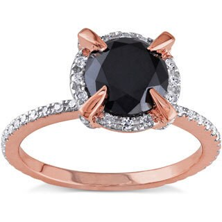 Miadora 10k Rose Gold 2ct TDW Black and White Diamond Halo Engagement Ring