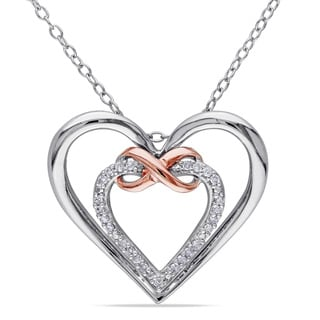 Miadora Sterling Silver 1/10ct TDW Diamond Double Heart Infinity Necklace