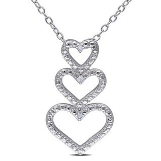 Miadora Sterling Silver Diamond Accent Triple Heart Necklace