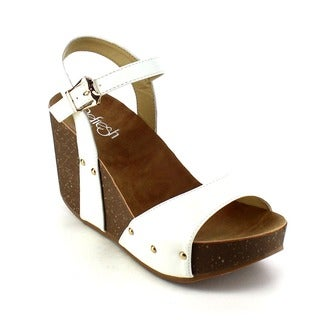 Refresh MARA-06 Women's Ankle Strap Wide Band Platform Wedges