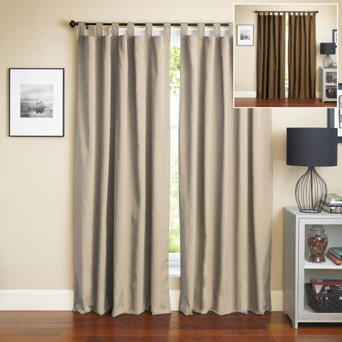 Blazing Needles 84-inch Twill Insulated Blackout Two-Tone Reversible Curtain Panel Pair
