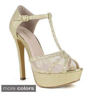 Celeste Women's 'Alle-04' Rhinestone-embellished T-strap Sandals