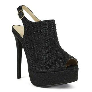 Celeste Women's Dido-02 High Heel Peep Toe Platform Bootie
