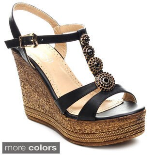 Refresh GRITA-04 Women's Beaded Platform Ankle Strap Wedges