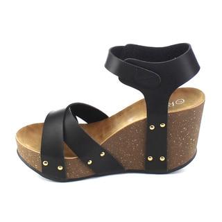 Refresh MARA-05 Women's Criss Cross Platform Wedge Sandal