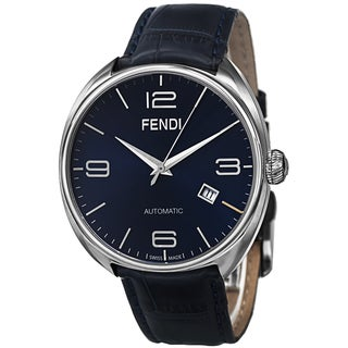 Fendi Men's F200013031 'Fendimatic' Blue Dial Blue Leather Strap Swiss Automatic Watch