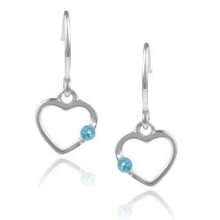 Journee Collection Sterling Silver Cubic Zirconia Dangle Heart Earrings