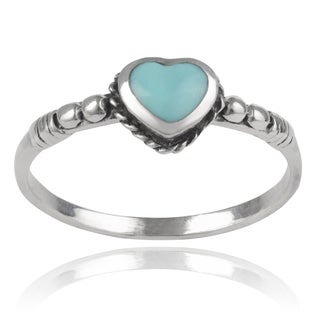 Journee Collection Sterling Silver Turquoise Heart Ring