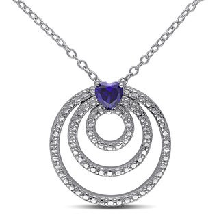 Miadora Sterling Silver Heart-cut Created Blue Sapphire Circle Necklace