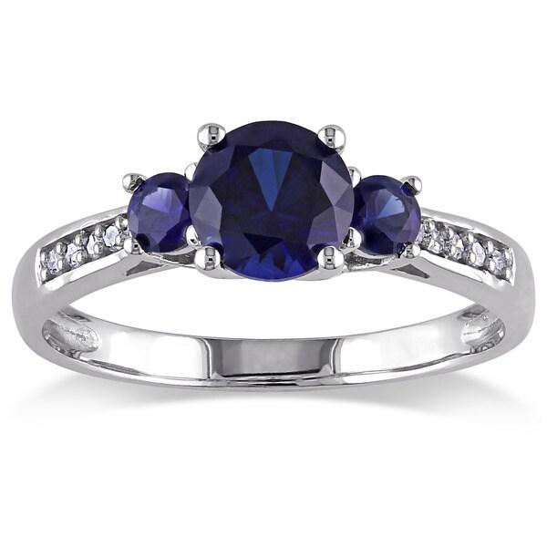 Miadora 10k White Gold Created Blue Sapphire Diamond Accent 3-stone Ring