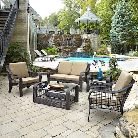 Havenside Home Golovin Love Seat, Two Accent Chairs, End Table, and Coffee Table