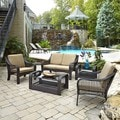 Home Styles Lanai Breeze Love Seat, Two Accent Chairs, End Table, and Coffee Table