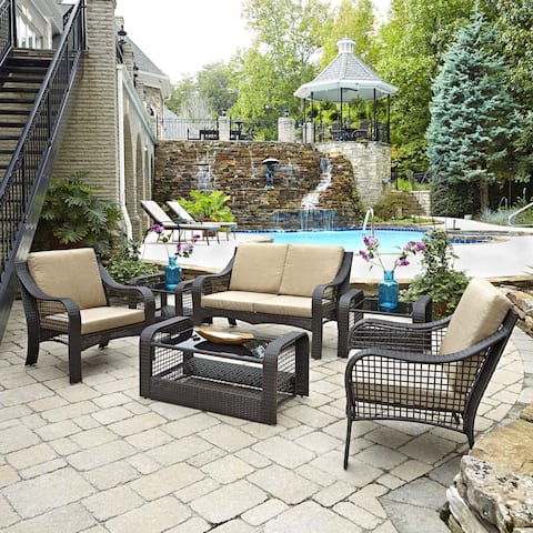 Havenside Home Golovin Love Seat, Two Accent Chairs, Two End Tables, and Coffee Table