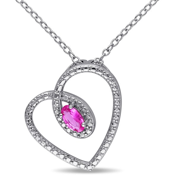 Miadora Sterling Silver Oval-cut Created Pink Sapphire Heart Necklace
