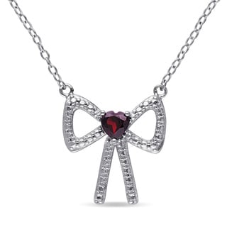 Miadora Sterling Silver Heart-cut Garnet Bow Necklace
