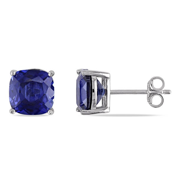 Miadora Sterling Silver Created Blue Sapphire Stud Earrings