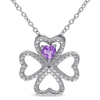 Miadora Sterling Silver Amethyst Multi-heart Necklace