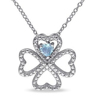 Miadora Sterling Silver Sky Blue Topaz Multi-heart Necklace